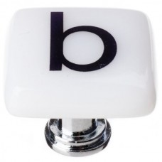"New Vintage Letter b White 1-1/4"" Square Glass Cabinet Knob (K-1101) by Sietto"