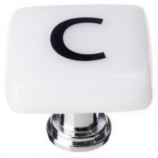 "New Vintage Letter c White 1-1/4"" Square Glass Cabinet Knob (K-1102) by Sietto"