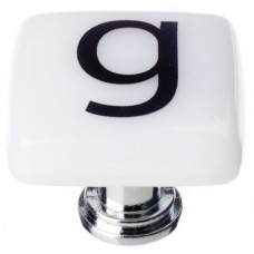 """New Vintage Letter g White 1-1/4"""" Square Glass Cabinet Knob (K-1106) by Sietto"""
