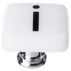 """New Vintage Letter I White 1-1/4"""" Square Glass Cabinet Knob (K-1108) by Sietto"""