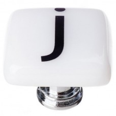 """New Vintage Letter j White 1-1/4"""" Square Glass Cabinet Knob (K-1109) by Sietto"""