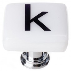 """New Vintage Letter k White 1-1/4"""" Square Glass Cabinet Knob (K-1110) by Sietto"""