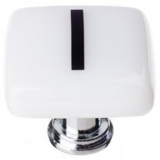 """New Vintage Letter l White 1-1/4"""" Square Glass Cabinet Knob (K-1111) by Sietto"""
