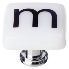 """New Vintage Letter m White 1-1/4"""" Square Glass Cabinet Knob (K-1112) by Sietto"""