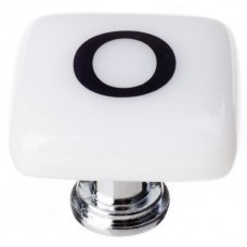 """New Vintage Letter o White 1-1/4"""" Square Glass Cabinet Knob (K-1114) by Sietto"""