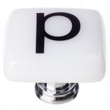"""New Vintage Letter p White 1-1/4"""" Square Glass Cabinet Knob (K-1115) by Sietto"""