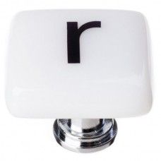 """New Vintage Letter r White 1-1/4"""" Square Glass Cabinet Knob (K-1117) by Sietto"""