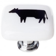 "New Vintage Cow White 1-1/4"" Square Glass Cabinet Knob (K-1146) by Sietto"
