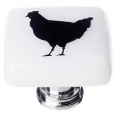 "New Vintage Chicken White 1-1/4"" Square Glass Cabinet Knob (K-1148) by Sietto"