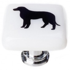 "New Vintage Lab Dog White 1-1/4"" Square Glass Cabinet Knob (K-1149) by Sietto"