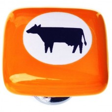 "New Vintage Cow Orange Cameo 1-1/4"" Square Glass Cabinet Knob (K-1154) by Sietto"