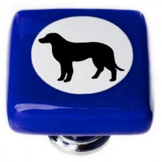 "New Vintage Lab Dog Cobalt Cameo 1-1/4"" Square Glass Cabinet Knob (K-1157) by Sietto"