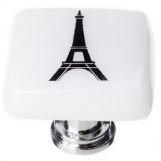 "New Vintage Eiffel Tower White 1-1/4"" Square Glass Cabinet Knob (K-1158) by Sietto"