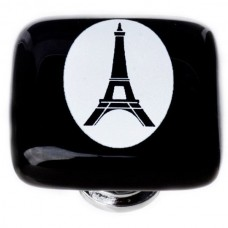 "New Vintage Eiffel Tower Black Cameo 1-1/4"" Square Glass Cabinet Knob (K-1159) by Sietto"