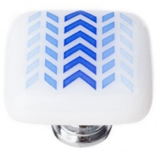 "New Vintage Blue Arrows White 1-1/4"" Square Glass Cabinet Knob (K-1169) by Sietto"
