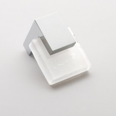 "Affinity White 1-1/4"" Square Glass Cabinet Knob (K-1201) by Sietto"