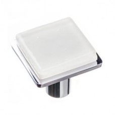 "Geometric White 1.25"" Square Glass Cabinet Knob (K-1300) by Sietto"