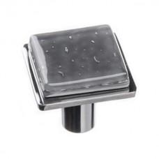 "Geometric Slate Grey 1.25"" Square Glass Cabinet Knob (K-1301) by Sietto"
