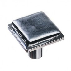 "Geometric Irid Black 1.25"" Square Glass Cabinet Knob (K-1302) by Sietto"