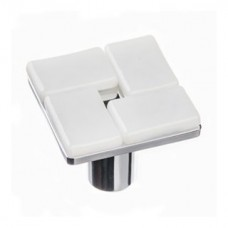"Geometric White 1.25"" Square Glass Cabinet Knob (K-1600) by Sietto"