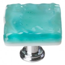 "Glacier Aqua 1-1/4"" Square Glass Cabinet Knob (K-207) by Sietto"