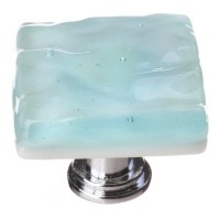 "Glacier Light Aqua 1-1/4"" Square Glass Cabinet Knob (K-208) by Sietto"