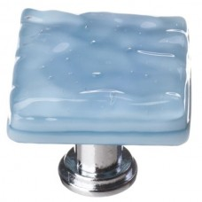 "Glacier Powder Blue 1-1/4"" Square Glass Cabinet Knob (K-215) by Sietto"