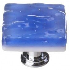 "Glacier Sky Blue 1-1/4"" Square Glass Cabinet Knob (K-219) by Sietto"