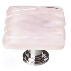 "Glacier Rose 1-1/4"" Square Glass Cabinet Knob (K-228) by Sietto"