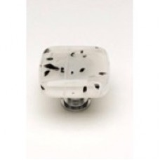 "Cirrus Black & White 1-1/4"" Glass Cabinet Knob (K-502) by Sietto"