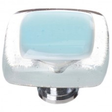 """Reflective Light Aqua 1-1/4"""" Square Glass Cabinet Knob (K-702) by Sietto"""