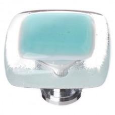 """Reflective Aqua 1-1/4"""" Square Glass Cabinet Knob (K-708) by Sietto"""