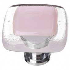 "Reflective Pink 1-1/4"" Square Glass Cabinet Knob (K-717) by Sietto"