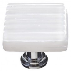"Texture White 1-1/4"" Square Glass Cabinet Knob (K-800) by Sietto"