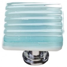 "Texture Light Aqua 1-1/4"" Square Glass Cabinet Knob (K-801) by Sietto"