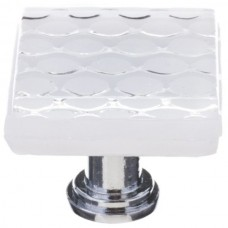 "Texture White 1-1/4"" Square Glass Cabinet Knob (K-900) by Sietto"