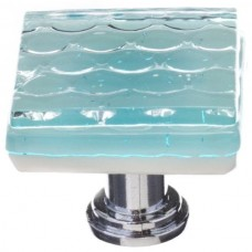 "Texture Light Aqua 1-1/4"" Square Glass Cabinet Knob (K-901) by Sietto"