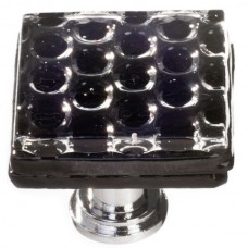 "Texture Black 1-1/4"" Square Glass Cabinet Knob (K-902) by Sietto"