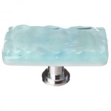 "Glacier Light Aqua 2"" Long Glass Cabinet Knob (LK-208) by Sietto"