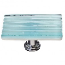 "Texture Light Aqua 2"" Long Glass Cabinet Knob (LK-801) by Sietto"