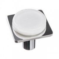 "Geometric White 1.25"" Square Glass Cabinet Knob (M-1300) by Sietto"