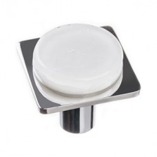 "Geometric White 1.25"" Square Glass Cabinet Knob (M-1300) by Sietto"