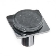 "Geometric Slate Grey 1.25"" Square Glass Cabinet Knob (M-1301) by Sietto"
