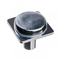 "Geometric Irid Black 1.25"" Square Glass Cabinet Knob (M-1302) by Sietto"