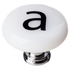 "New Vintage Letter a White 1-1/4"" Round Glass Cabinet Knob (R-1100) by Sietto"