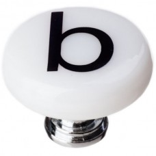 "New Vintage Letter b White 1-1/4"" Round Glass Cabinet Knob (R-1101) by Sietto"