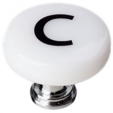 "New Vintage Letter c White 1-1/4"" Round Glass Cabinet Knob (R-1102) by Sietto"