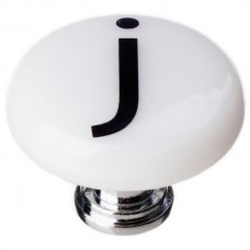 """New Vintage Letter j White 1-1/4"""" Round Glass Cabinet Knob (R-1109) by Sietto"""