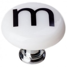 """New Vintage Letter m White 1-1/4"""" Round Glass Cabinet Knob (R-1112) by Sietto"""