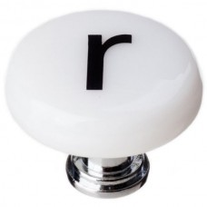"""New Vintage Letter r White 1-1/4"""" Round Glass Cabinet Knob (R-1117) by Sietto"""